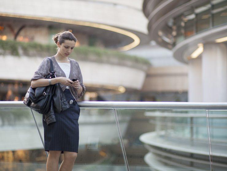 Woman outside office