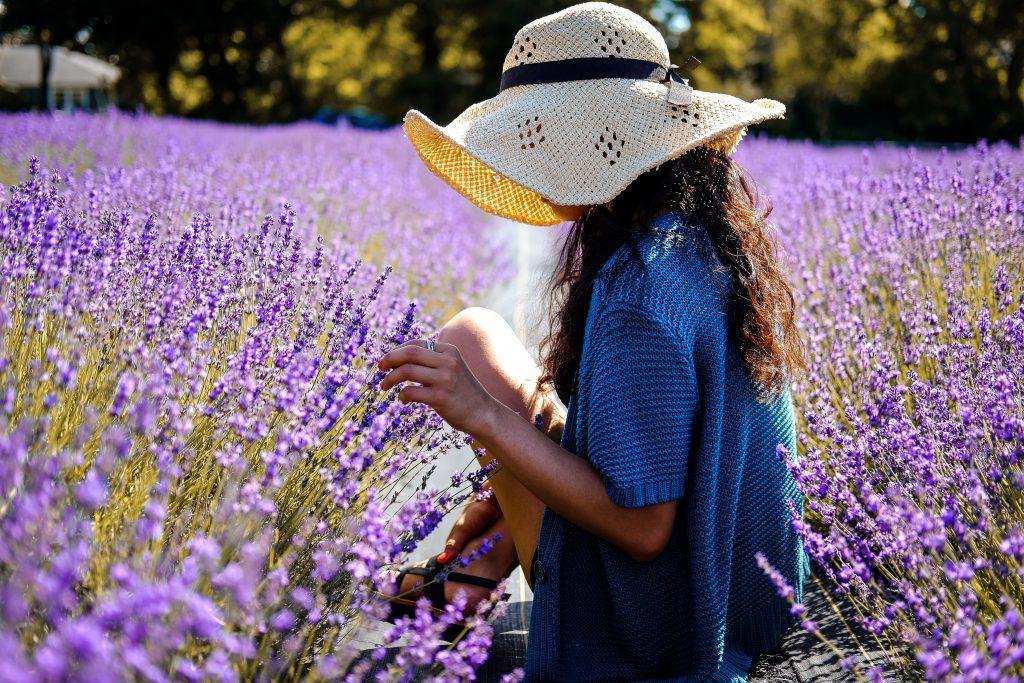 Woman in a field of flowers